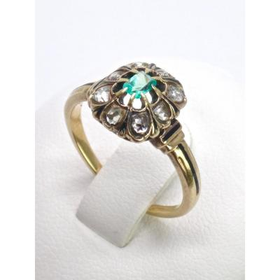 Pompadour Ring In 18k Gold Set With Rose-cut Diamonds And An Emerald From The 19th Century T53