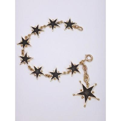Rare Bracelet In 18k Gold Pentacrines Stars Of Worthy Nineteenth
