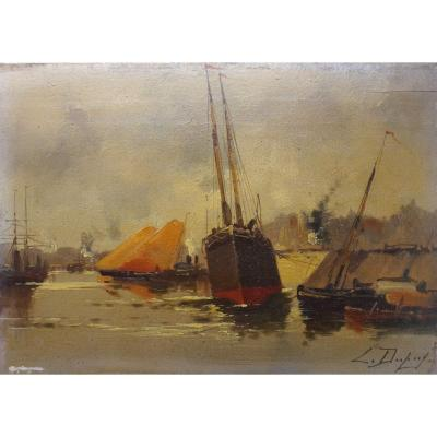 Eugène Galien-laloue (1854-1941) Oil On Wood Marine Signed L.dupuy 19th Century