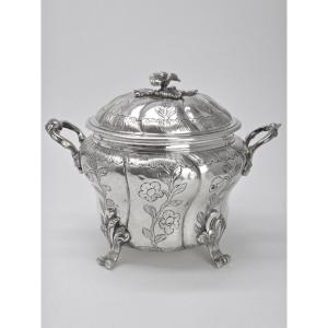Covered Sugar Bowl In Solid Silver  Louis XV Period 18th Century