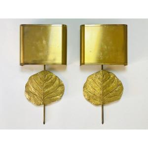 Maison Charles In Paris Pair Of Wall Lamps In Bronze And Brass Signed