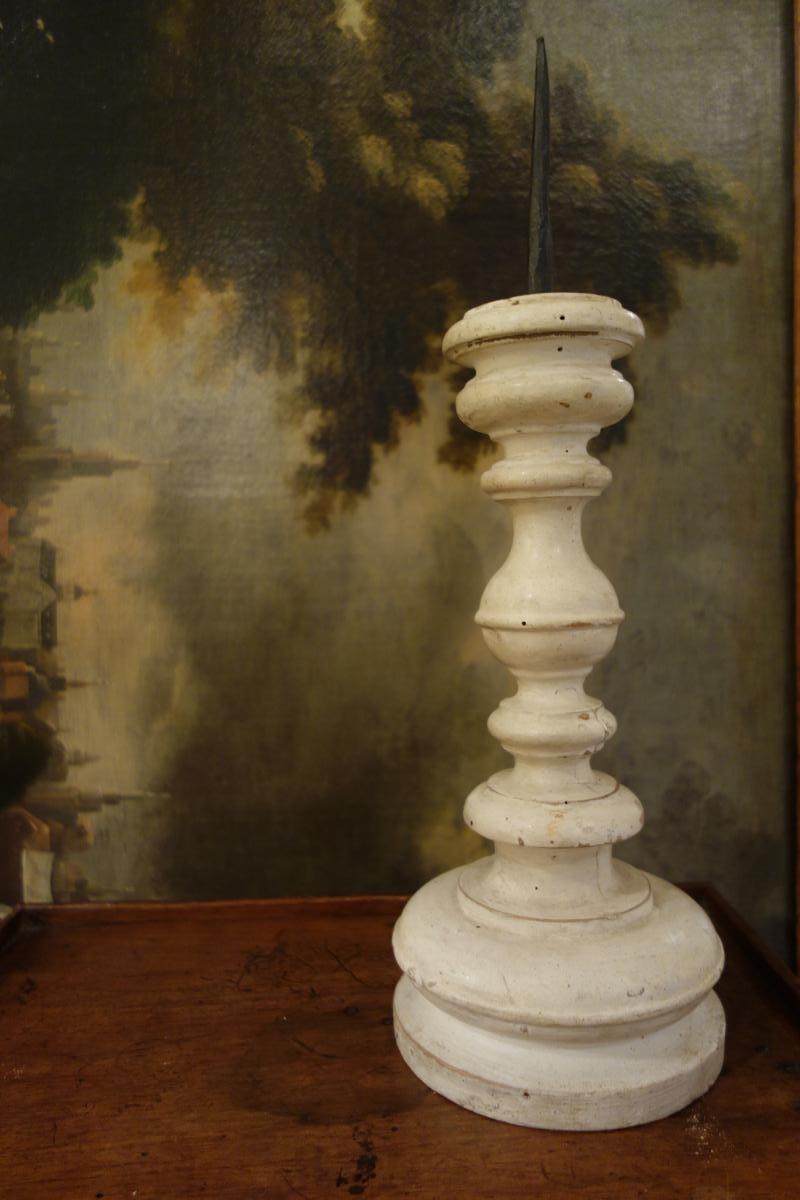 Pair Of Begining 18th Century Painted Candelsticks Italy 18th Century