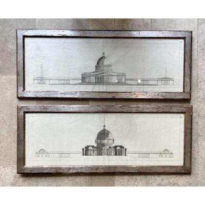 Pair Of Architectural Drawings, French School 18th Century