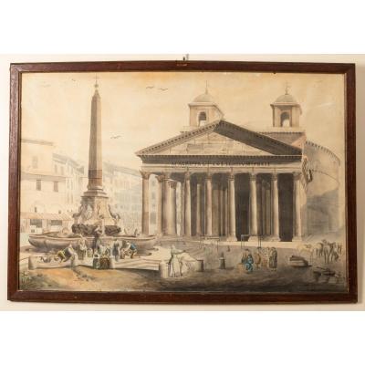 Vue Du Panthéon De Rome, Aquarelle 19ème