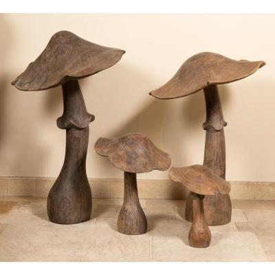 4 Champignons En Bois Naturel Sculpté, Fin 19e