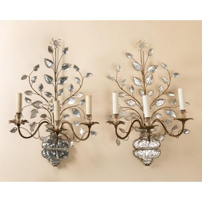Pair Of Maison Bagues Wall Lights  In Gilt Metal And Glass