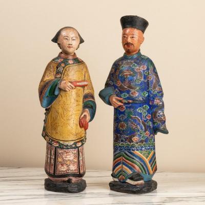 Paire De  Magots Chinois En Terre Cuite Laquée 18ème