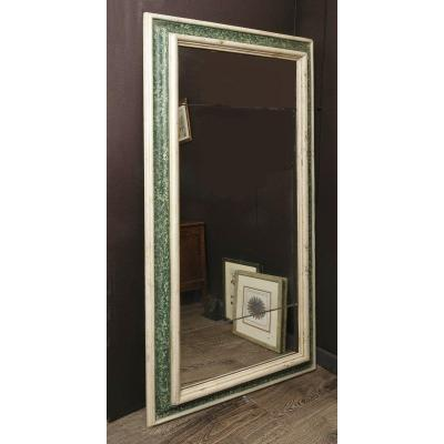 Large Painted Faux Marbre  Mirror, Italy 17th