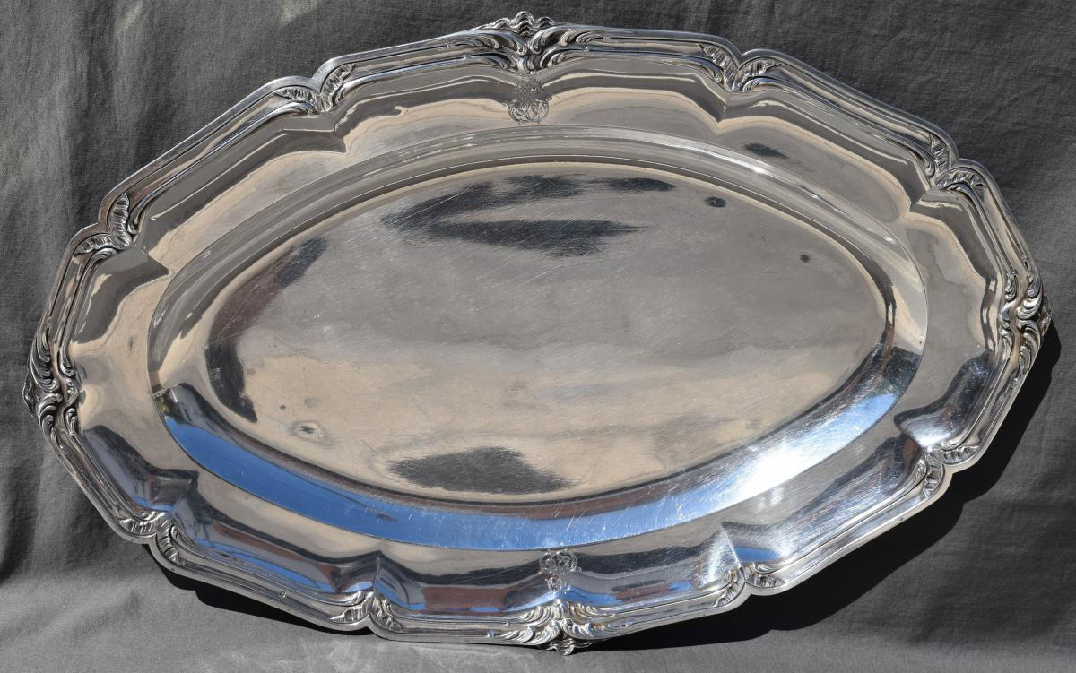 Large Serving Plate In Sterling Silver Minerve (silver Dish) Decor Rocaille