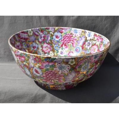 Large Porcelain Salad Bowl A Decor Thousand Flowers In Enamels Brand Guanxu