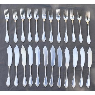 12 Sterling Silver Fish Cutlery Style Louis XV Rocaille Style