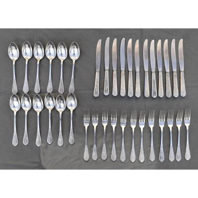 Menagere 36 Pieces En Argent Massif Chine Indochine Couverts De Table