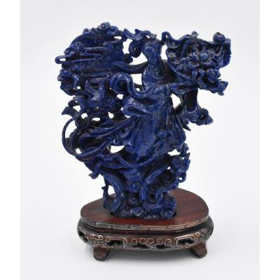 Important Guanyin Carved In Lapis Lazuli On Its Wooden Base China Early Twentieth