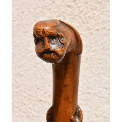 Anicenne Walking Cane Folk Art Carved Wood Human And Animal Face Decor
