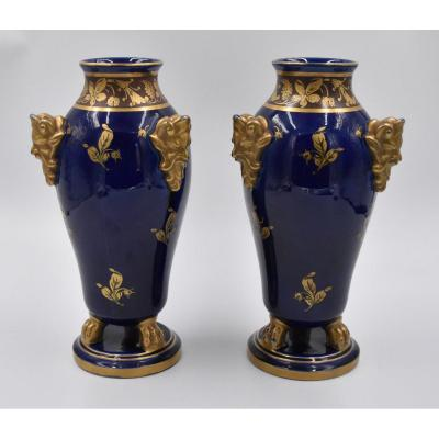 Tours Jaget And Pinon Pair Of Vases In Blue Faience And Golden Decor Early XX Eme