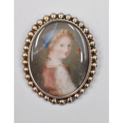 Miniature Jewelry Brooch A Portrait Of Young Woman School Of The XIXth Silver Frame