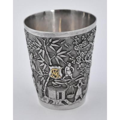 Goblet In Sterling Silver Chinese A Decor Of Village Characters And Bamboo China XX Eme