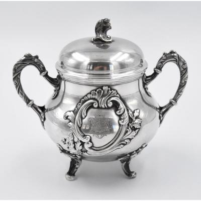 Sugar Bowl In Sterling Silver Minerve Rocaille With Coat Of Arms
