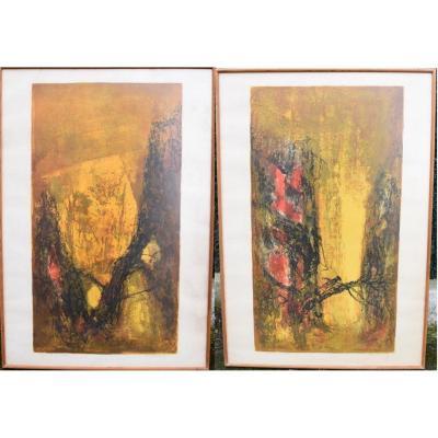 Lebadang (1921 2015) Paire De Grandes Lithographies épreuve d'Artiste