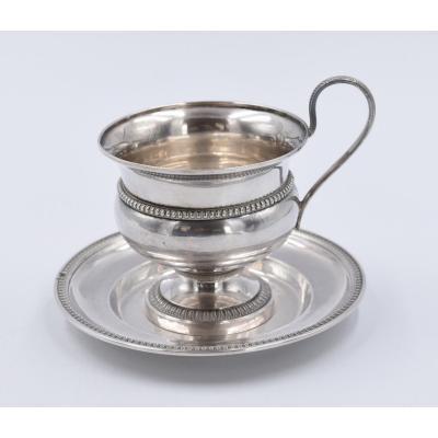 Tasse Et Sous Tasse En Argent Poinçon Vieillard Style Empire