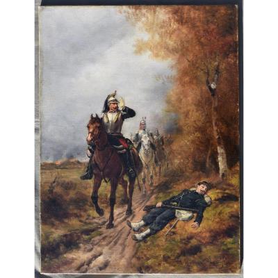 Théodore LÉvigne - Tableau Ancien Huile Sur Toile XIX Eme Depart De La Cavalerie