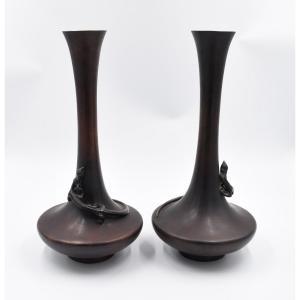 Japon Paire De Vases En Bronze époque Meiji (1868-1912 ) Signés Sous La Base