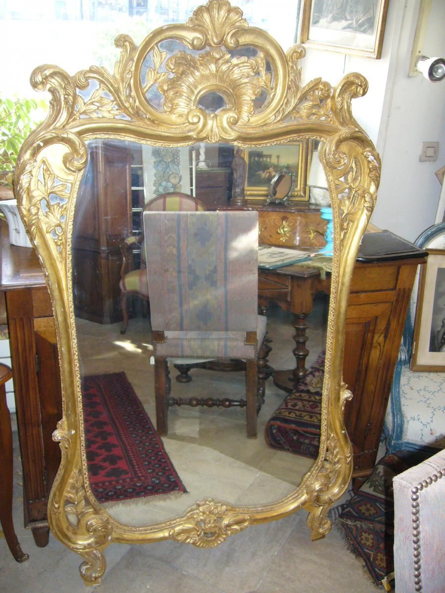 Large Mirror Louis XV Giltwood