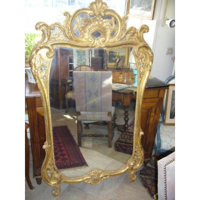 Large Mirror Louis XV Giltwood