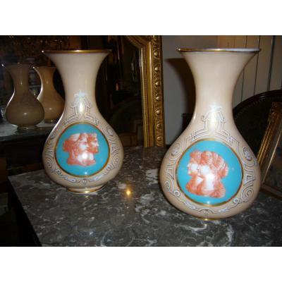 Paire De Vases Opaline Camée