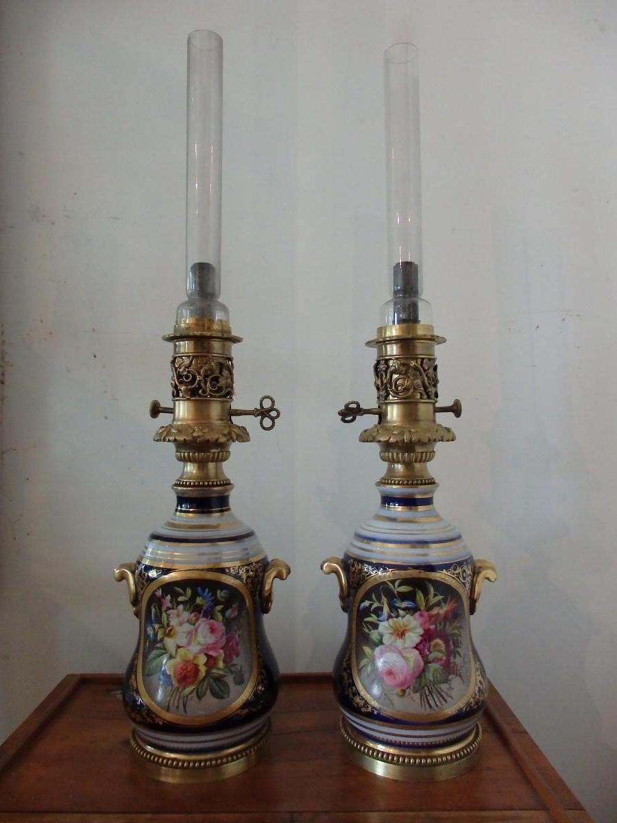 paire de lampes valentine en porcelaine lampes. Black Bedroom Furniture Sets. Home Design Ideas