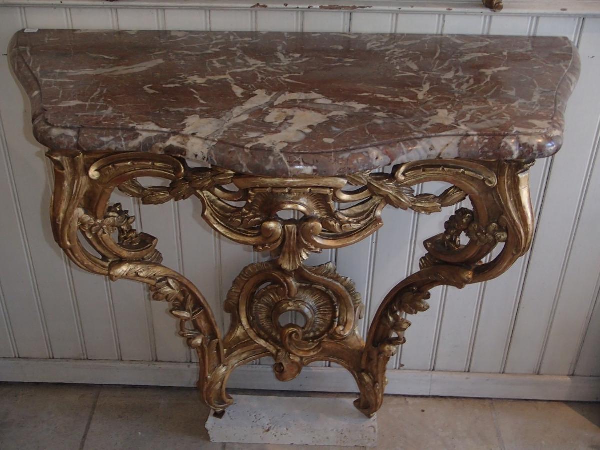 Console d'applique en Bois Doré d'époque Louis XV