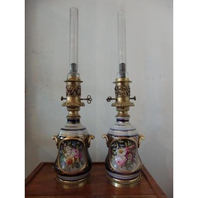 Paire De Lampes Valentine en porcelaine