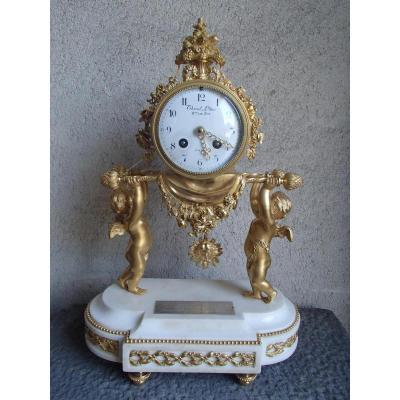 Pendule Aux Amours Porteurs d'époque Louis XVI