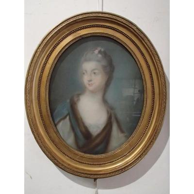 Pastel Portrait Mme De Vermanton Epoque 18ème