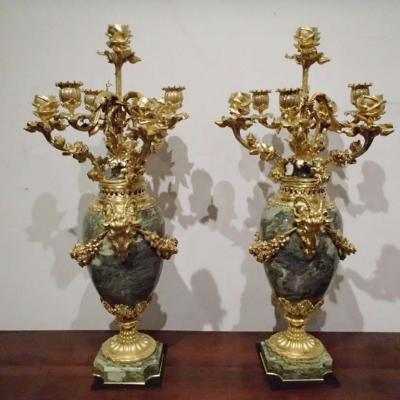 Pair Of Vases In Candelabra Cutlery 2nd Empire