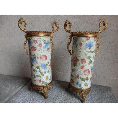 Vases rouleau en faience