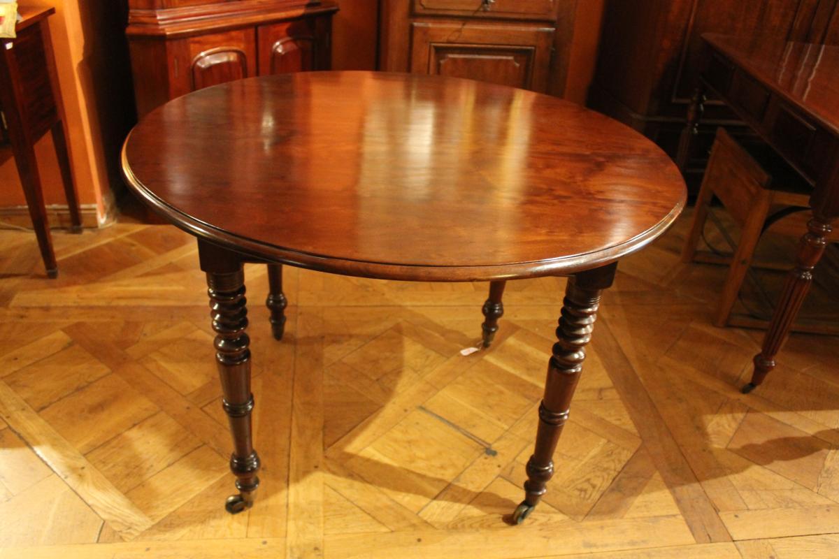 French Table 19 Ith Century Round Mahogany