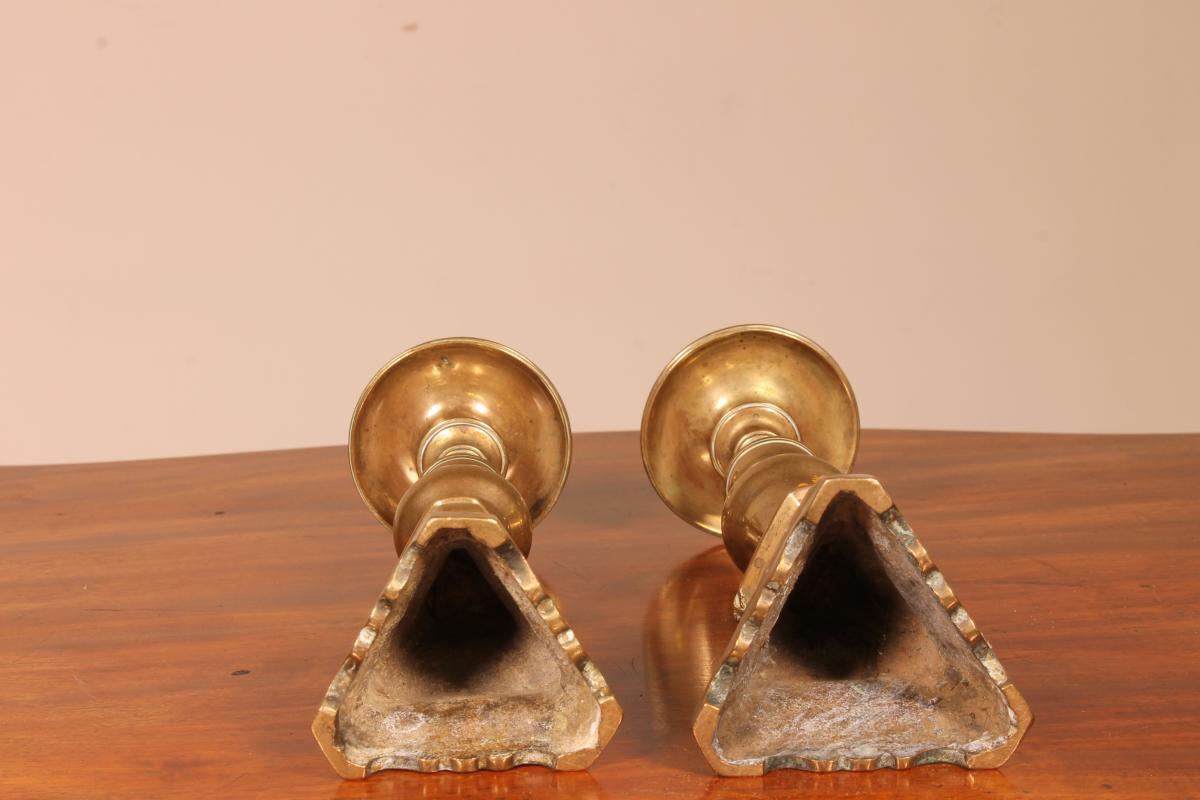 Paire De Pique-cierges En Bronze 17° Siècle Italie-photo-2