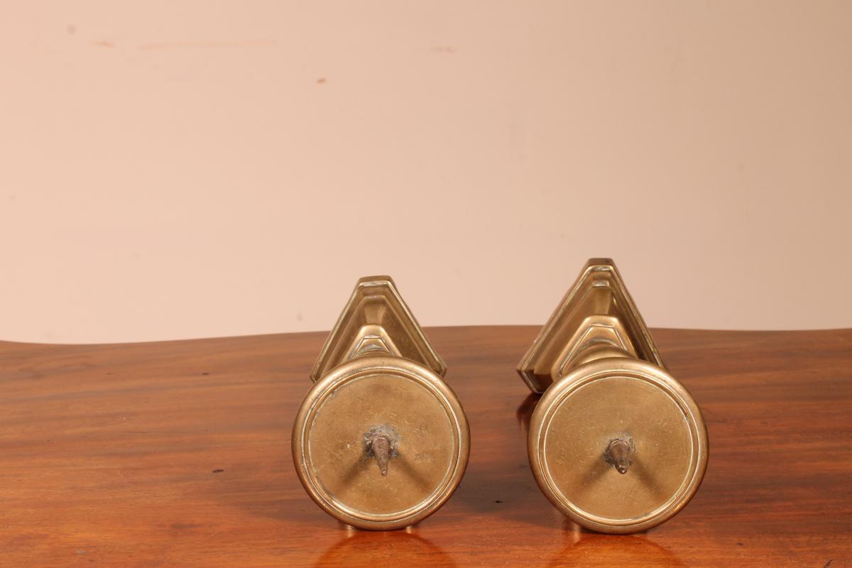Paire De Pique-cierges En Bronze 17° Siècle Italie-photo-3