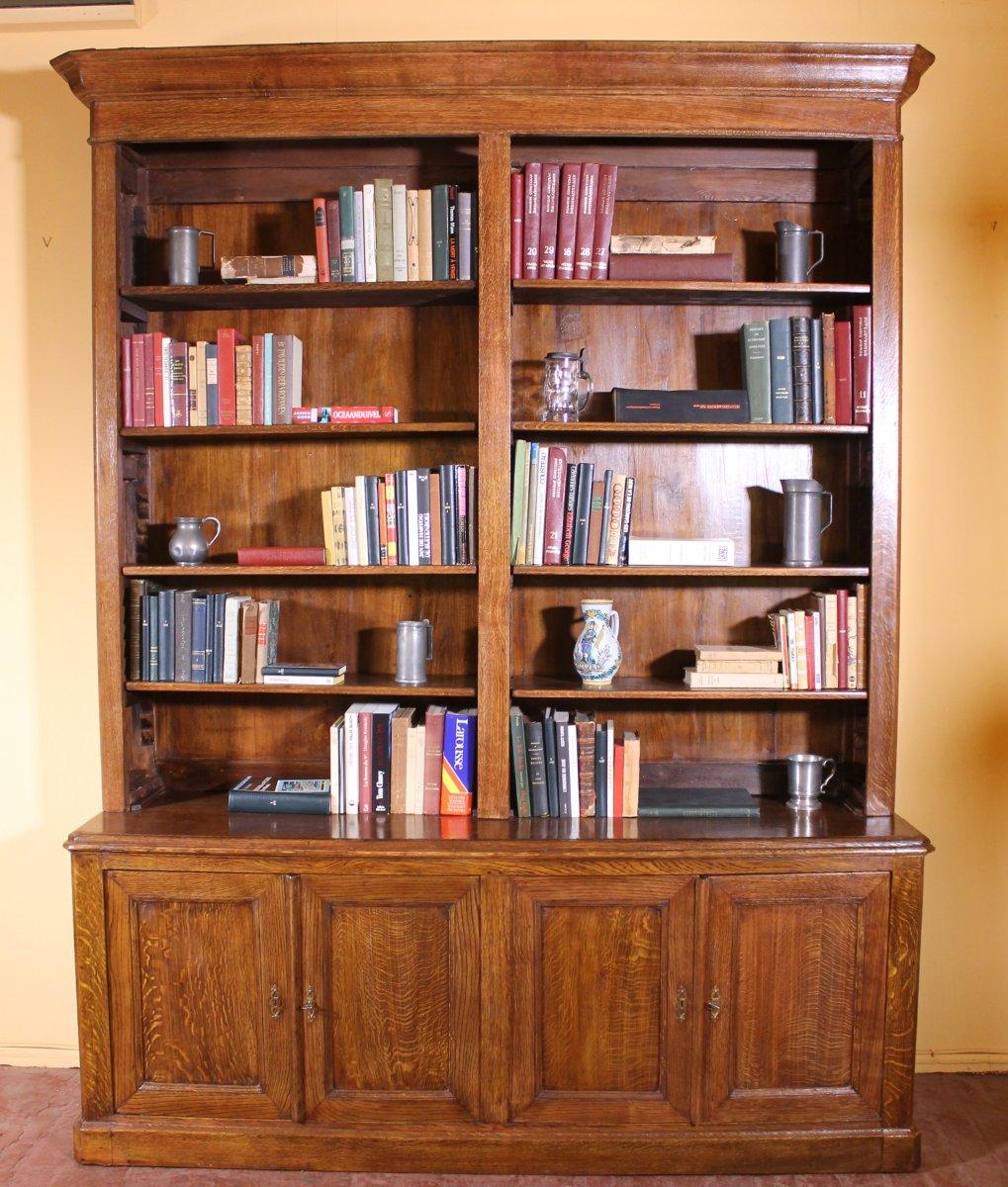 French 19 ° Century Open Bookcase In Oak
