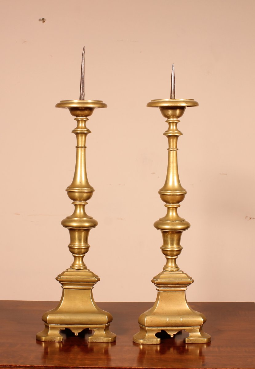 Pair Of Italian Torch End 17 ° Century