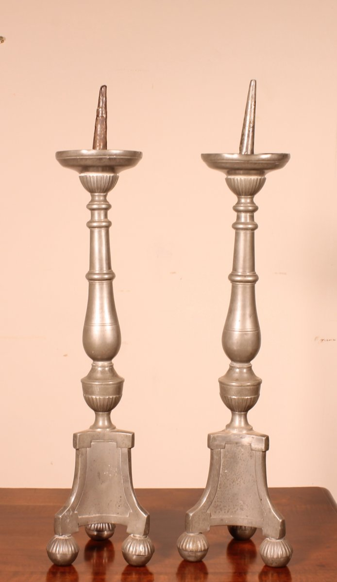 Pair Of Louis XIV Flambeau In Pewter 18siècle