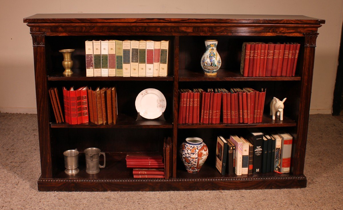 Bibliothèque William IV En Palissandre Début 19° Siècle