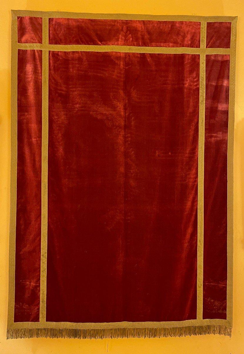 Arrière d'Autel-italie-19° Siècle-velours De Soie Rouge