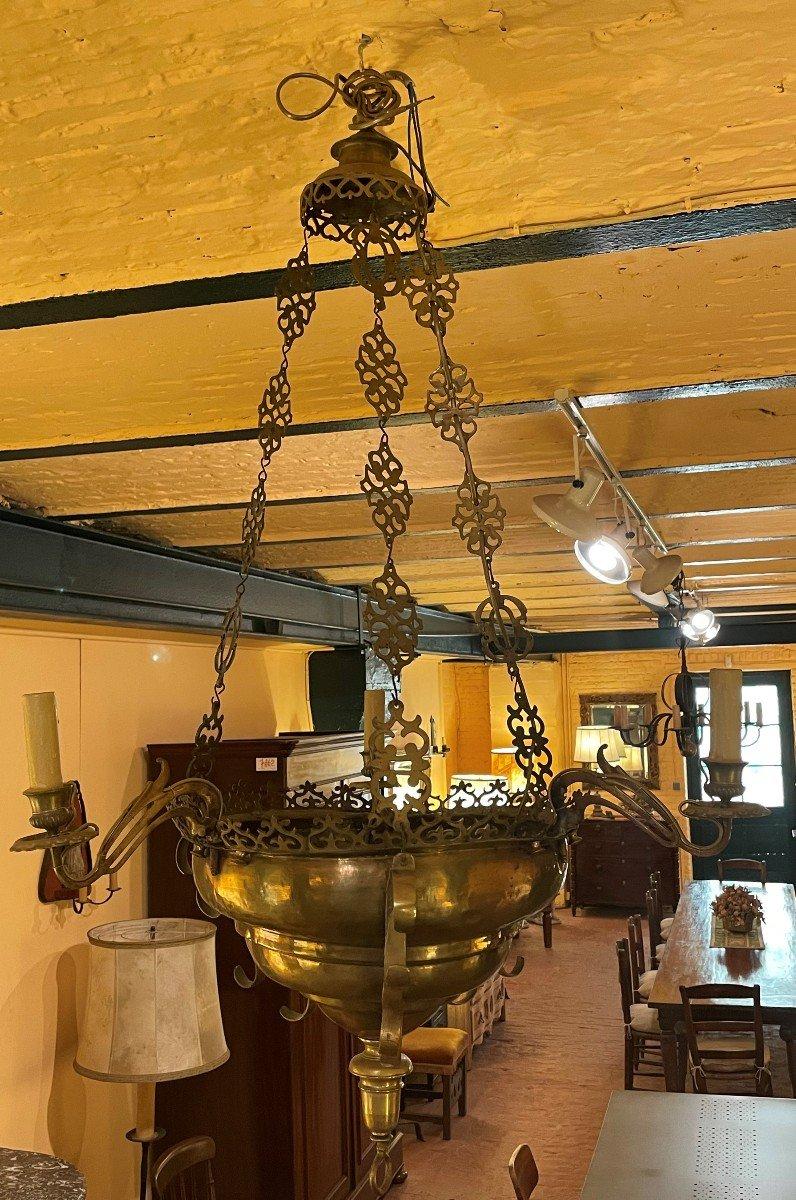 Lampe De Suspension Renaissance Espagnol-17° Siècle Avec éclairage Indirecte