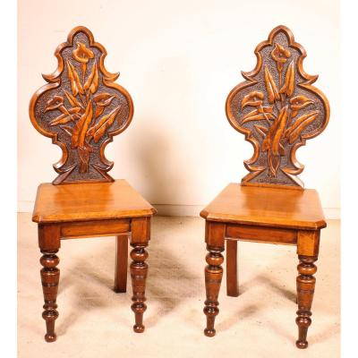 Pair Of  Hall Chairs Art Déco Early 20 Century-england