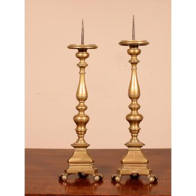 Pair Of Small Italian Candle Sticks End 17 ° Century