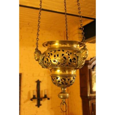 Lampe Dieu Renaissance Française 16 En Bronze