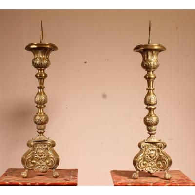 Pair Of Louis XV Candlesticks 18 Century