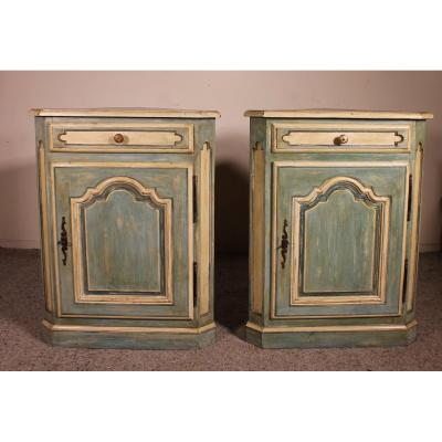 Pair Of Louis XV Polychrome Corner Cupboards In Oak-19th Century